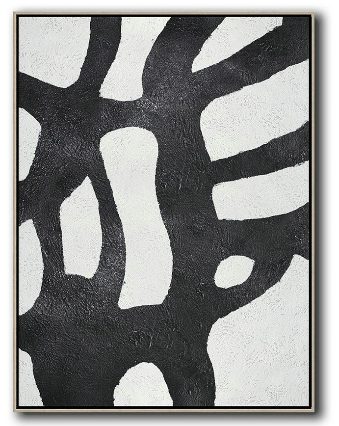 Black And White Minimal Painting On Canvas,Large Wall Canvas Paintings #B5X1