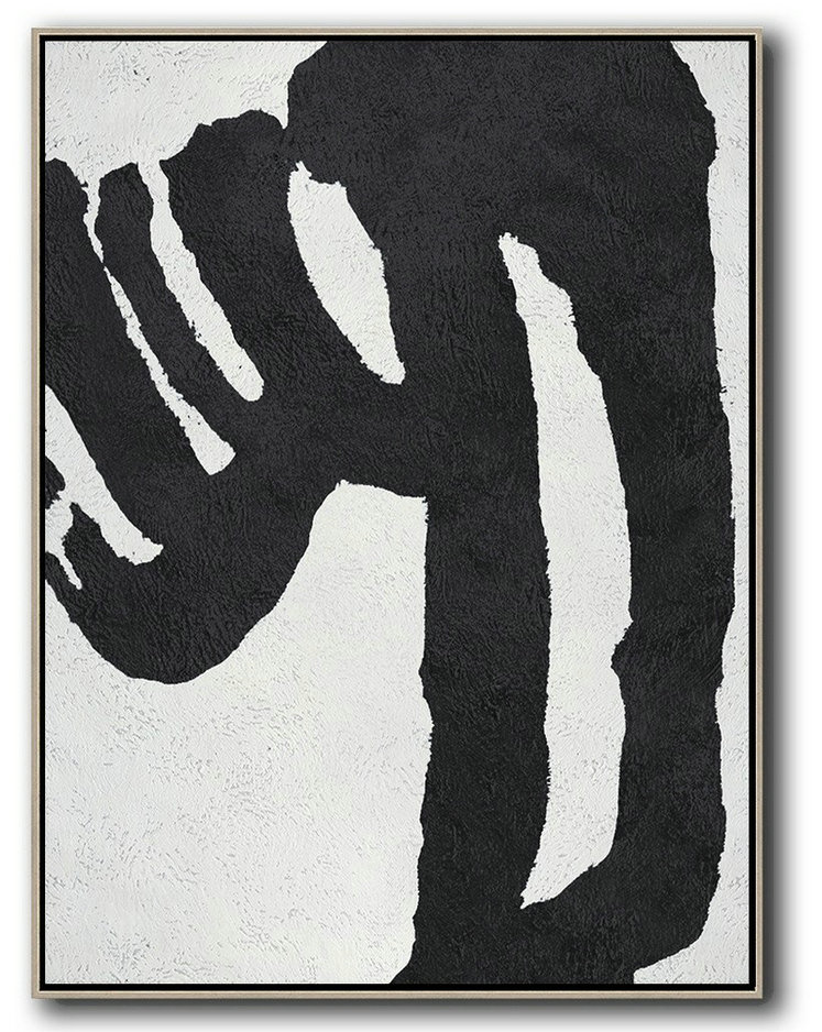 Black And White Minimal Painting On Canvas,Modern Living Room Decor #N9B5