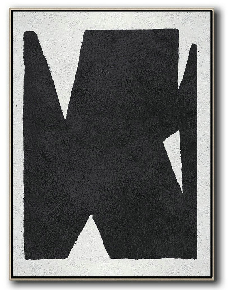 Black And White Minimal Painting On Canvas,Bedroom Wall Decor #L5V8