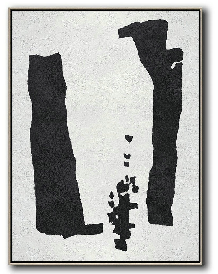 Black And White Minimal Painting On Canvas,Contemporary Abstract Painting #K3W1