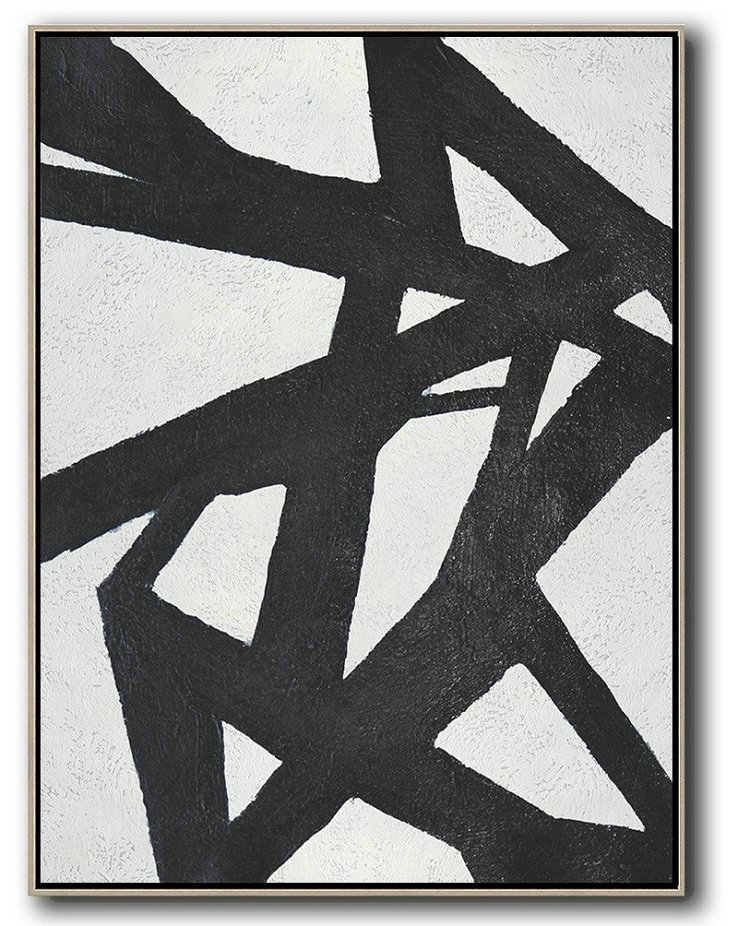Black And White Minimal Painting On Canvas,Pretty Abstract Paintings #I3Q5