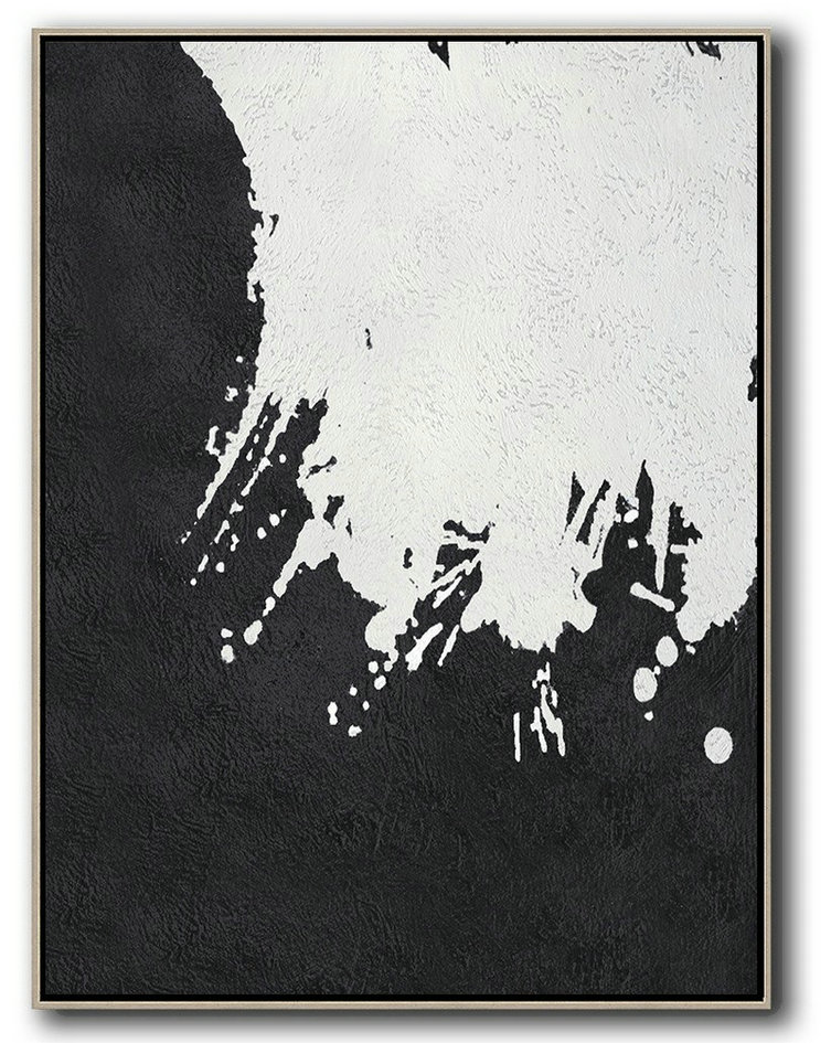 Black And White Minimal Painting On Canvas,Abstract Paintings On Sale #V7Q4