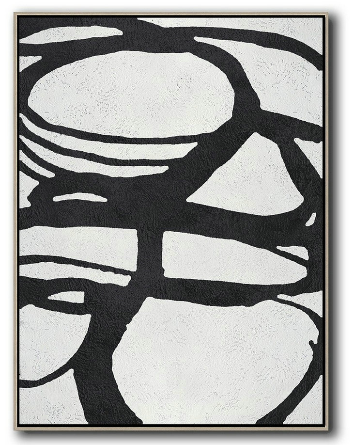 Black And White Minimal Painting On Canvas,Contemporary Art Wall Decor #J8P5