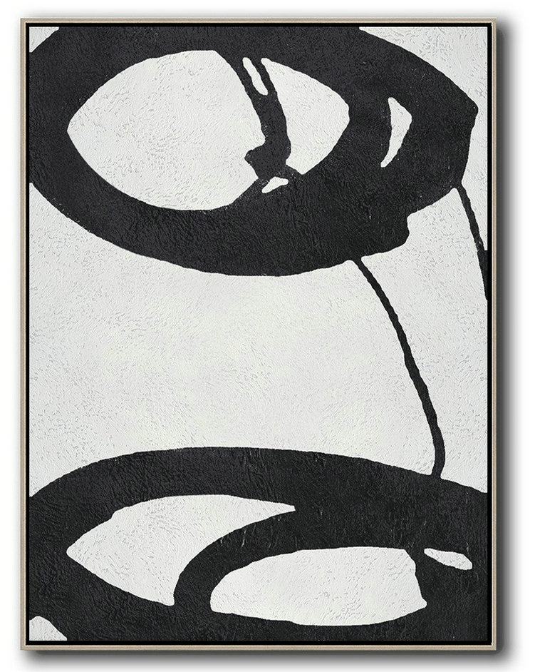 Black And White Minimal Painting On Canvas,Huge Abstract Canvas Art #J9J2