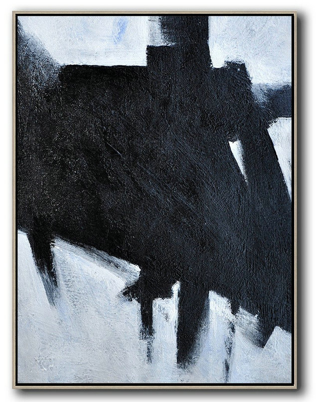 Black And White Minimal Painting On Canvas,Hand Painted Acrylic Painting #T6U3