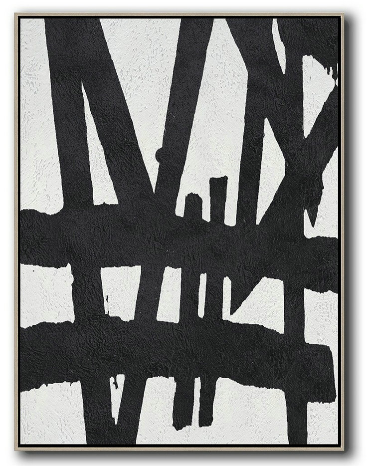 Black And White Minimal Painting On Canvas,Hand Paint Abstract Painting #X2M7