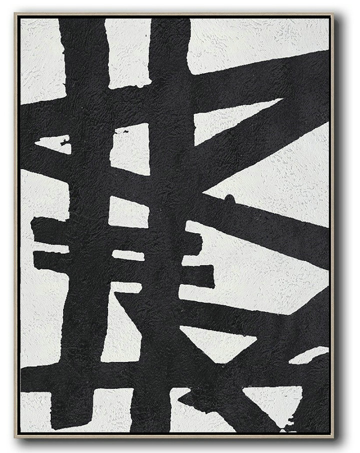 Black And White Minimal Painting On Canvas,Abstract Oil Painting #R9W2