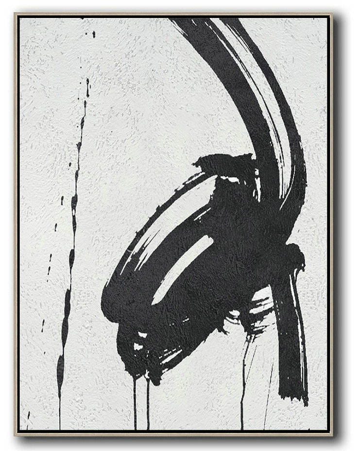 Black And White Minimal Painting On Canvas,Modern Paintings #M9P1