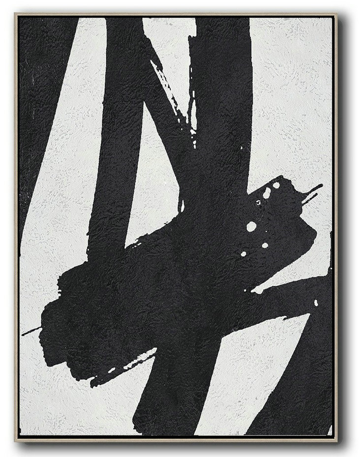 Black And White Minimal Painting On Canvas,Modern Art Abstract Painting #O6N9