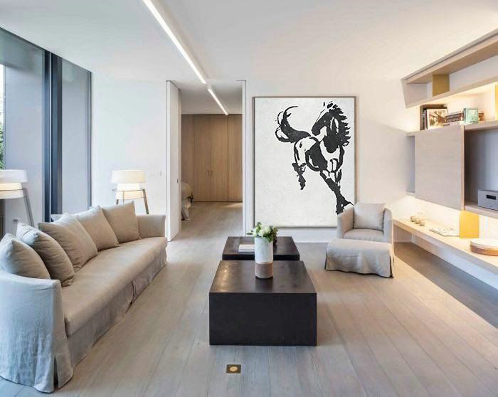 Black And White Minimal Painting On Canvas,Huge Canvas Art On Canvas #W2O9