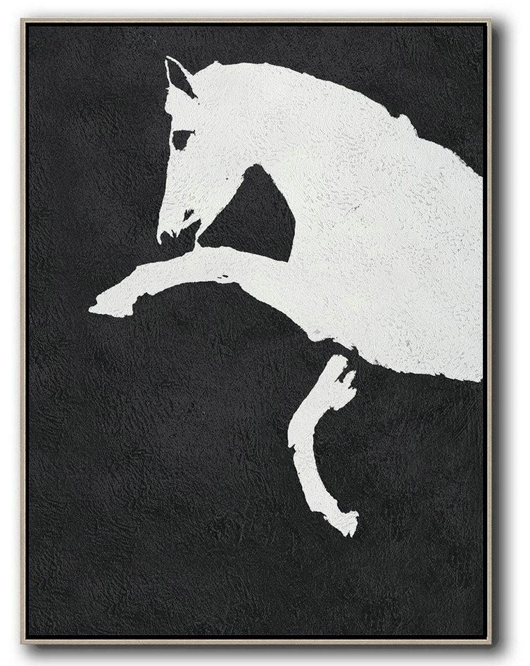 Black And White Minimal Painting On Canvas Artwork For Living Room I1j7 Big Art