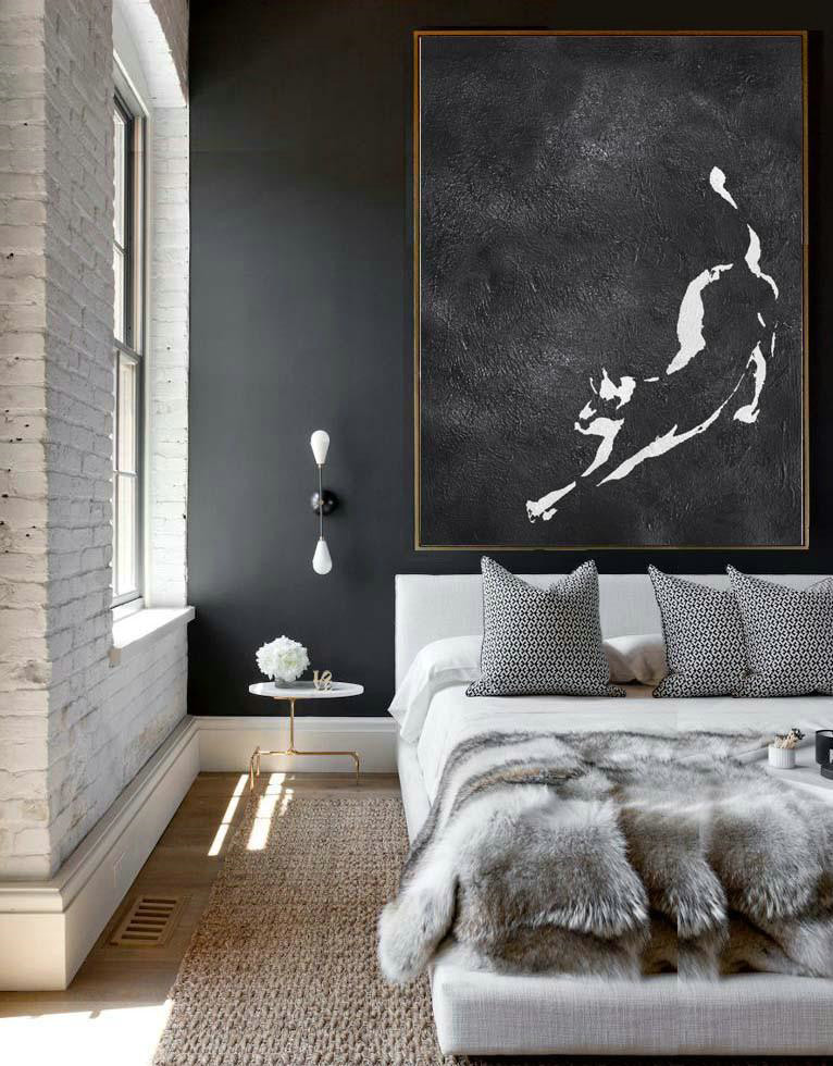 Black And White Minimal Painting On Canvas,Textured Painting Canvas Art #R7Q7