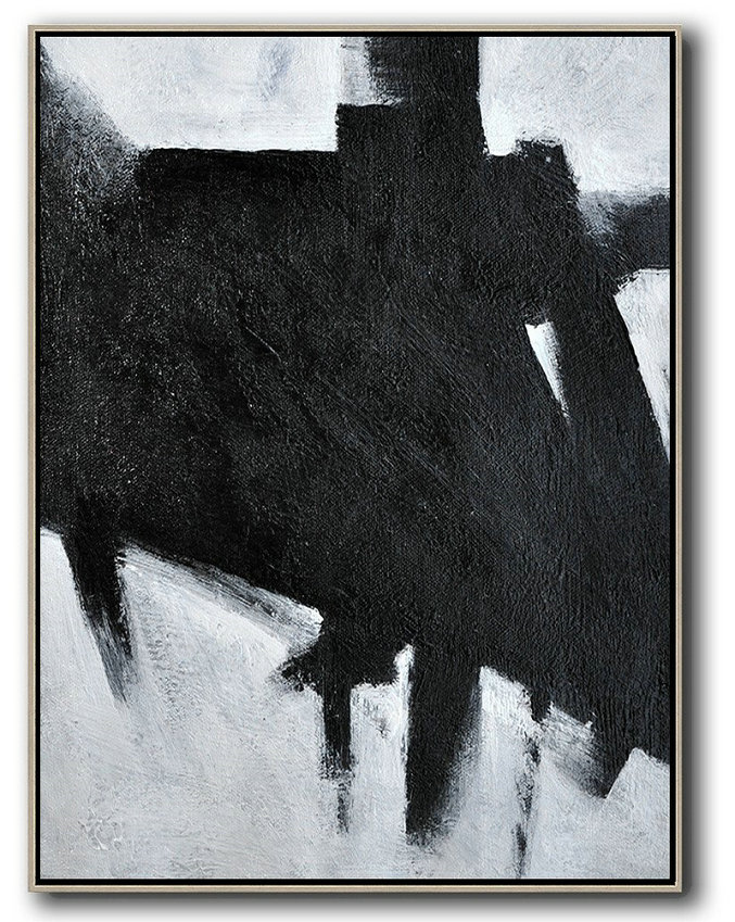 Black And White Minimal Painting On Canvas,Hand-Painted Contemporary Art #E6L3