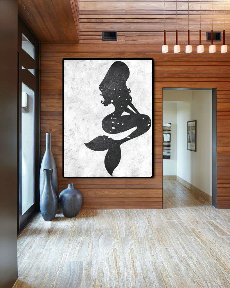 Black And White Minimal Painting On Canvas,Artwork For Sale #Z7G8
