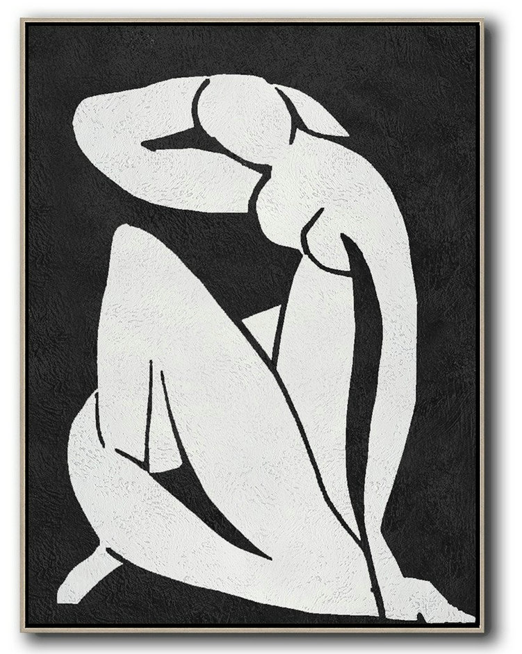 Black And White Minimal Painting On Canvas,Large Paintings For Living Room #Q4K0
