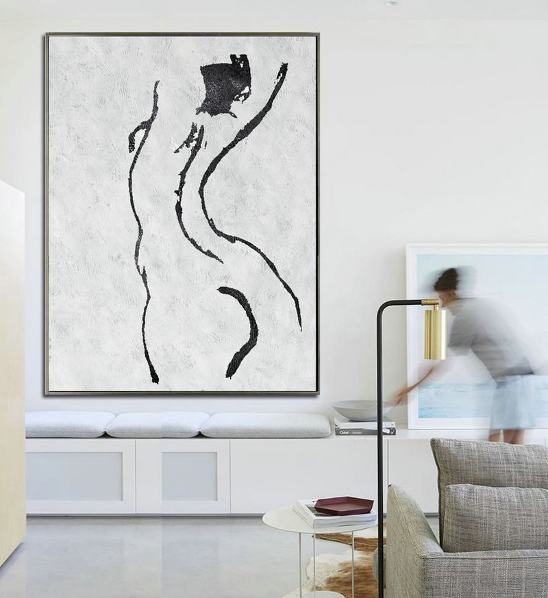 Black And White Minimal Painting On Canvas,Contemporary Artwork #H5J6