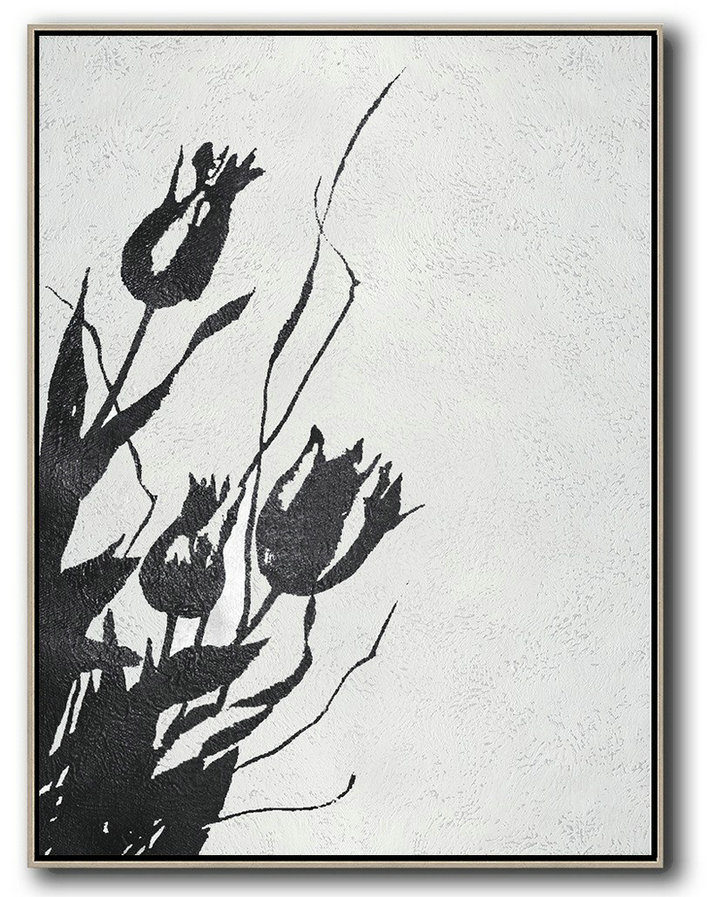 Black And White Minimal Painting On Canvas,Original Abstract Oil Paintings #E1Y1