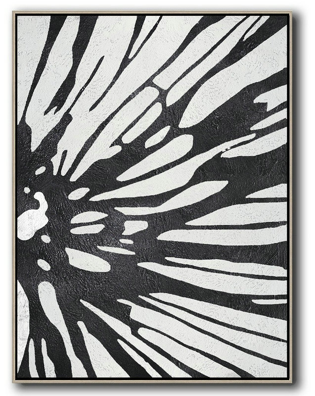Black And White Minimal Painting On Canvas,Contemporary Art Wall Decor #J2B8