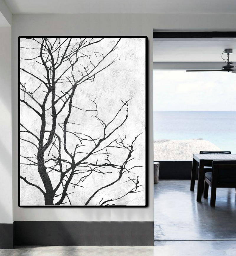 Black And White Minimal Painting On Canvas Wall Art Ideas For Living Room Y9w2 Big Canvas Art