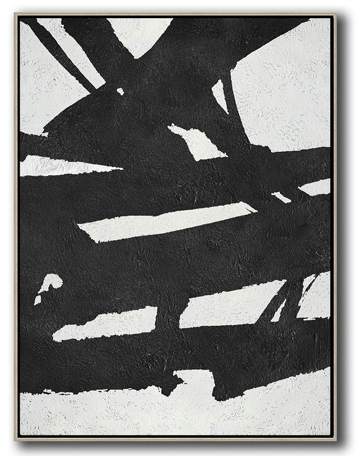Black And White Minimal Painting On Canvas,Original Abstract Art Paintings #M7F2