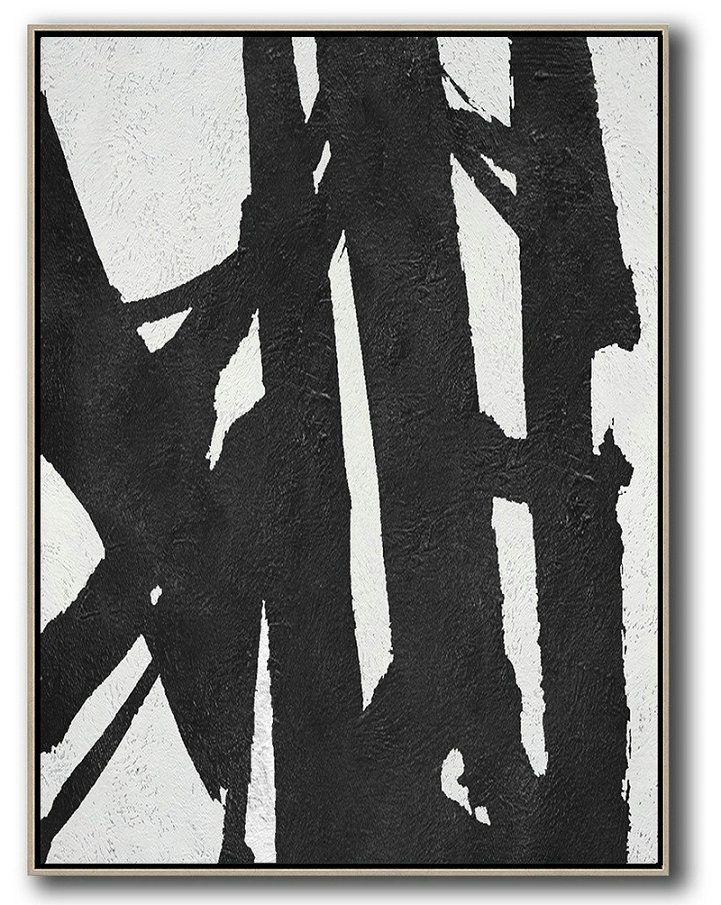 Black And White Minimal Painting On Canvas,Decorating A Big Living Room #U6E0