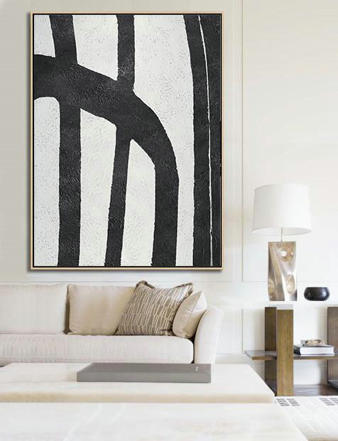 Black And White Minimal Painting On Canvas,Lounge Room Decor #F1V6