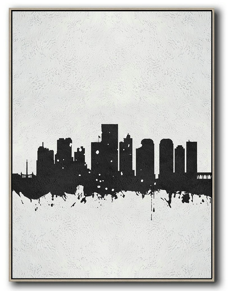 Vertical Minimal Painting On Canvas, Black And White, Richmond, Virginia Skyline,Giant Wall Decor #A2J5