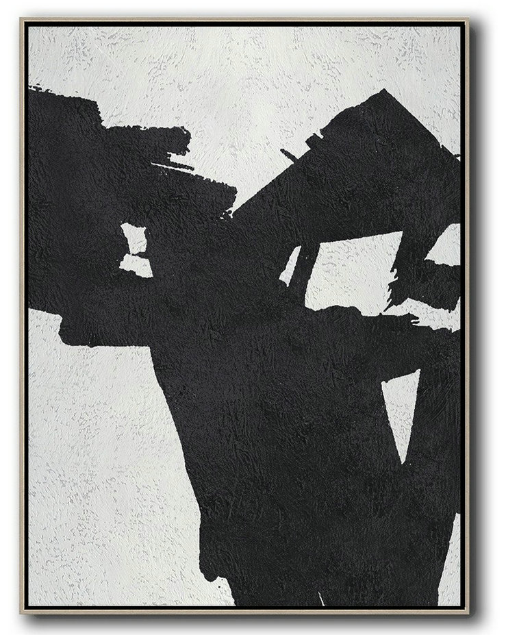 Black And White Minimal Painting On Canvas,Pretty Abstract Paintings #D9U0