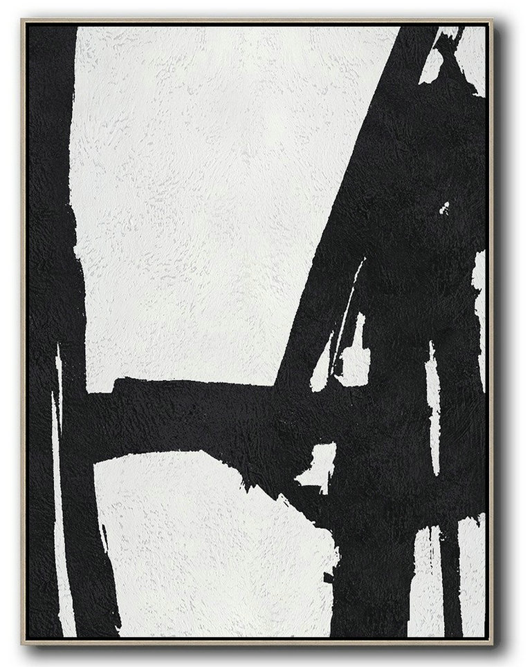 Black And White Minimal Painting On Canvas,Artcanvas Reading Room #D2D4