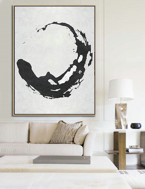 Black And White Minimal Painting On Canvas,Original Art For Sale By Artist #O9S4
