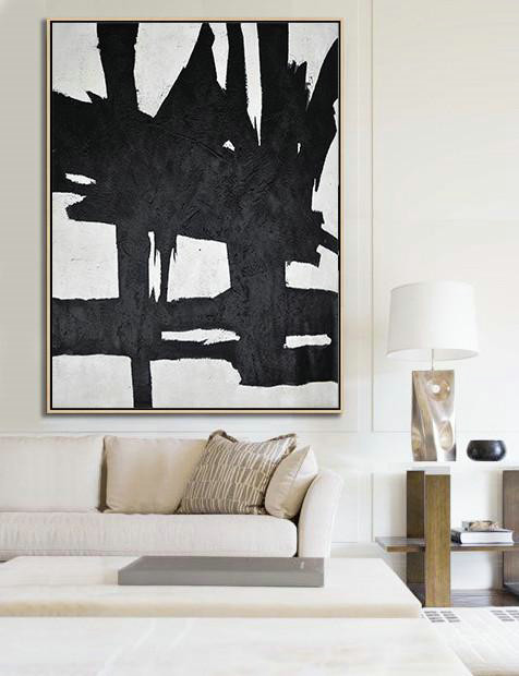 Black And White Minimal Painting On Canvas,Oversized Canvas Art Reading Room #A7P0