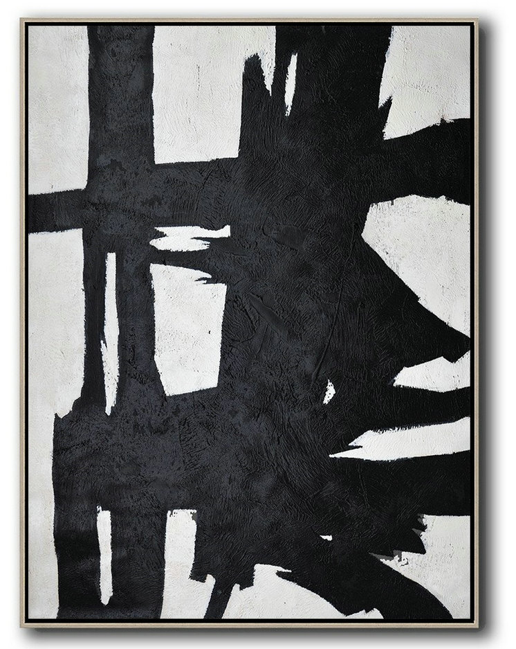 Black And White Minimal Painting On Canvas,Original Abstract Art Paintings #W3Q9