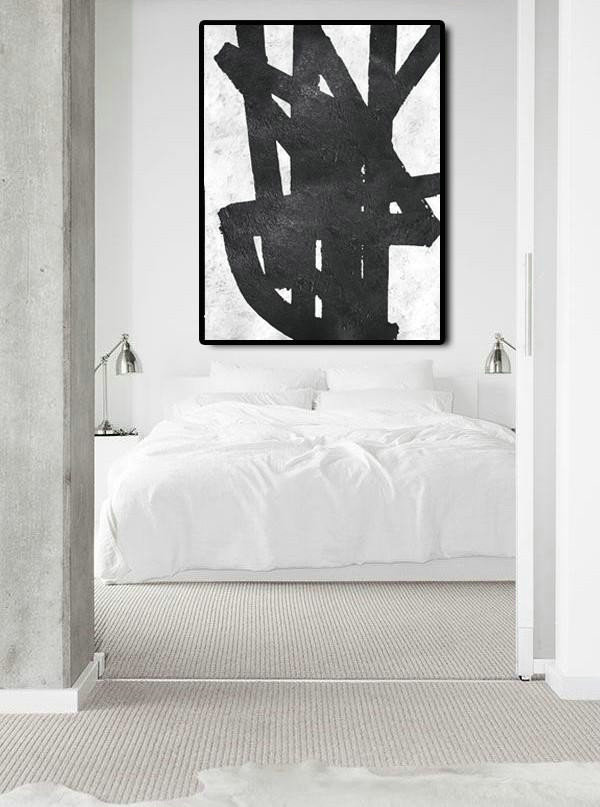 Black And White Minimal Painting On Canvas,Multicolor Abstract Painting #F9F5 - Click Image to Close