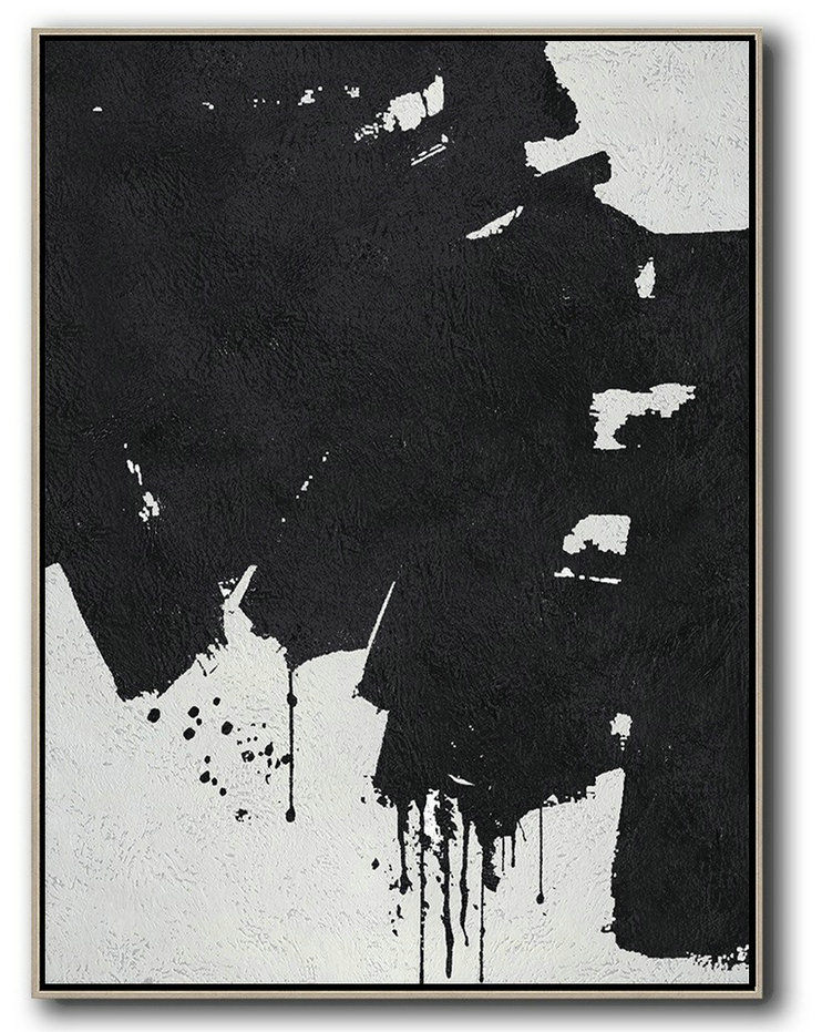 Black And White Minimal Painting On Canvas,Abstract Artwork Online #F6W6