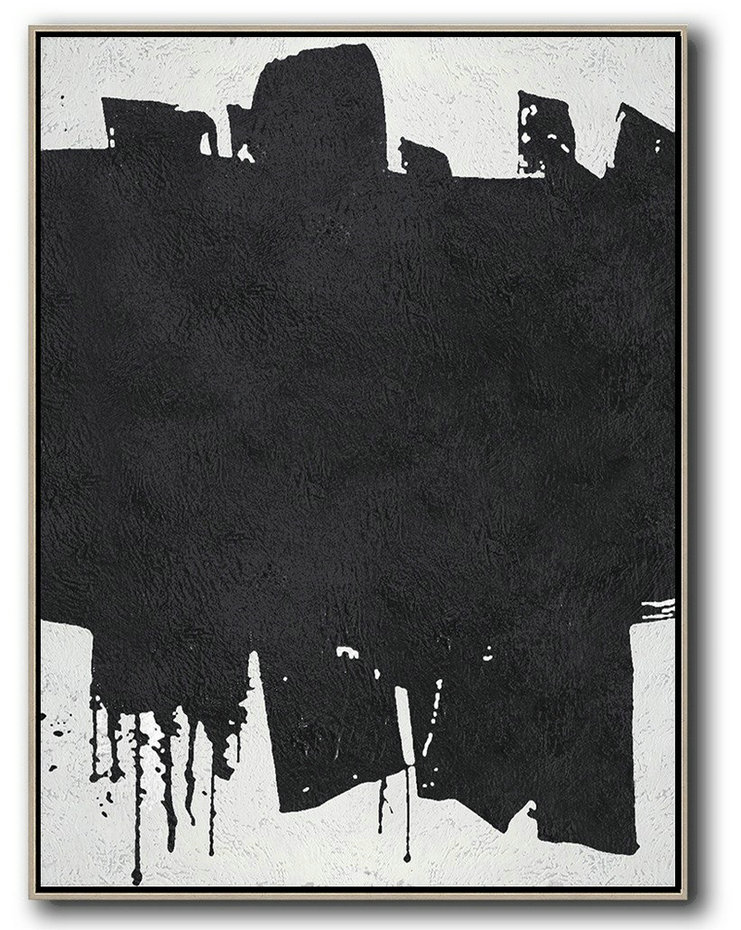 Black And White Minimal Painting On Canvas,Abstract Painting For Home #S0T1