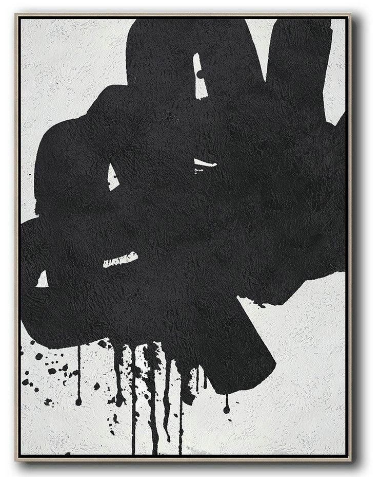 Black And White Minimal Painting On Canvas,Original Abstract Oil Paintings #C9L7