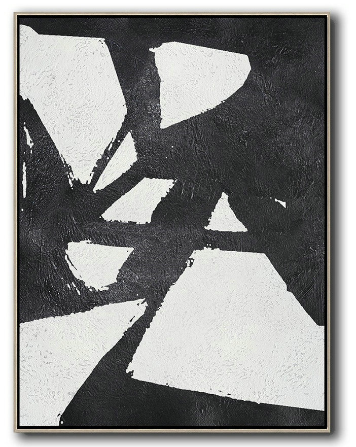 Black And White Minimal Painting On Canvas,Extra Large Canvas Art,Handmade Acrylic Painting #K4B3