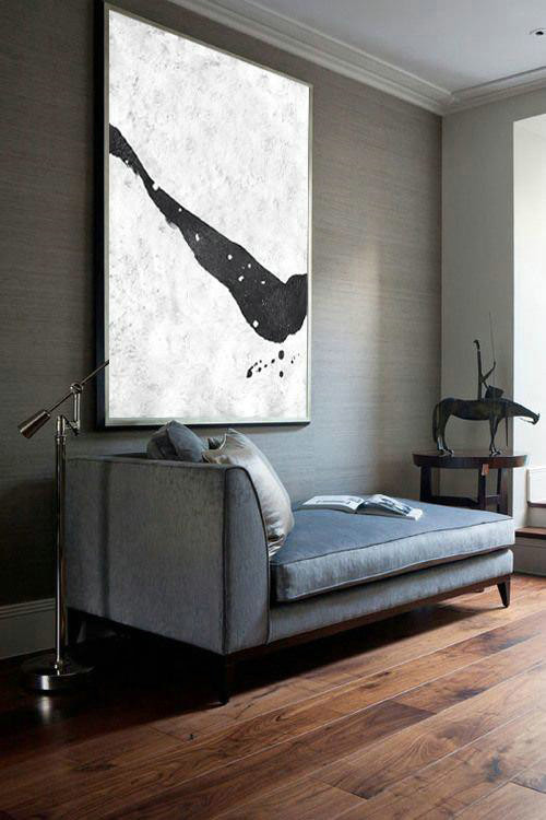 Black And White Minimal Painting On Canvas,Hand Painted Original Art #F0C0