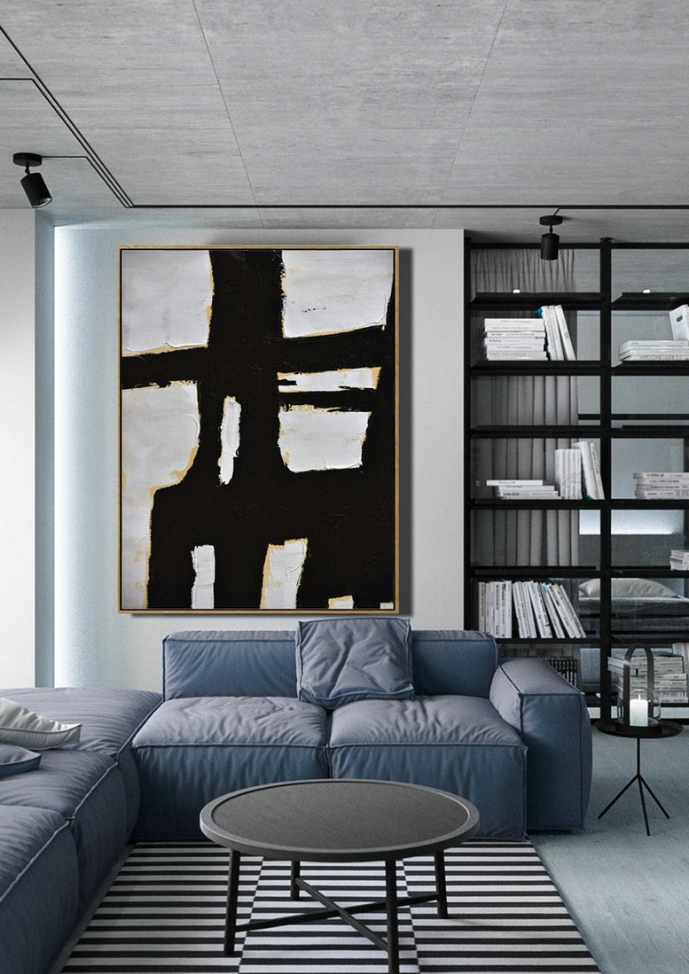 Minimalist Painting On Canvas, Palette Knife Vertical Minimal Art,Large Paintings For Living Room #N3E9