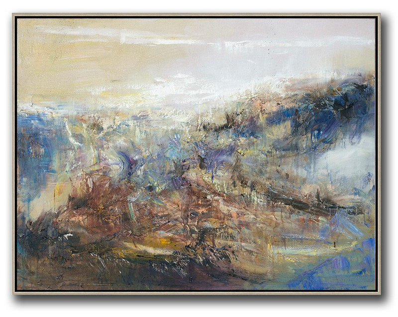 Abstract Landscape Oil Painting,Modern Living Room Decor,Light Yellow,Brown,Blue,White