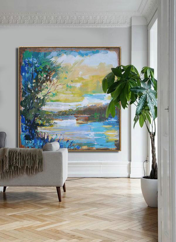 Abstract Landscape Oil Painting,Living Room Canvas Art,Yellow,White,Dark Green,Blue