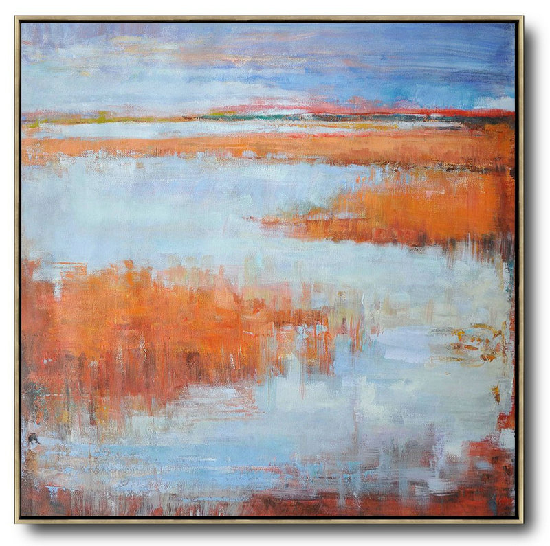 Abstract Landscape Oil Painting,Canvas Wall Paintings,Blue,Orange,Purple Grey,Red