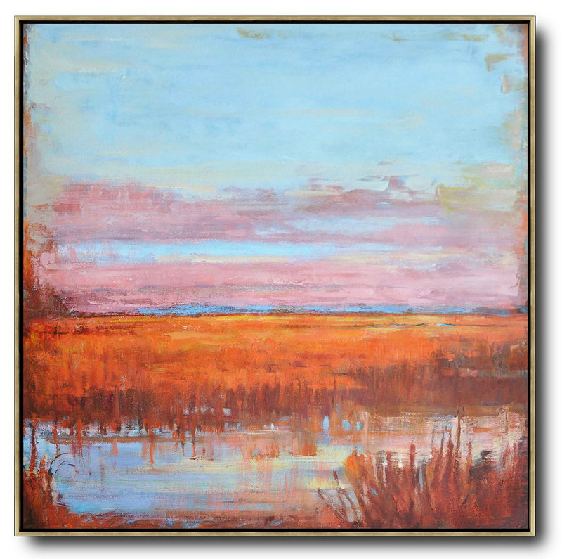 Abstract Landscape Oil Painting,Acrylic Painting Large Wall Art,Blue,Pink,Orange,Red