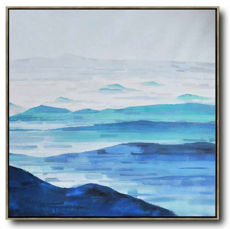 Abstract Landscape Oil Painting,Modern Wall Decor,Grey,White,Blue