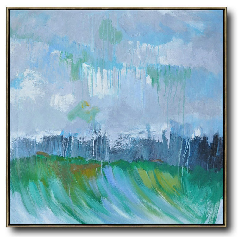 Abstract Landscape Oil Painting,Contemporary Wall Art,Purple Grey,Dark Blue,White,Green