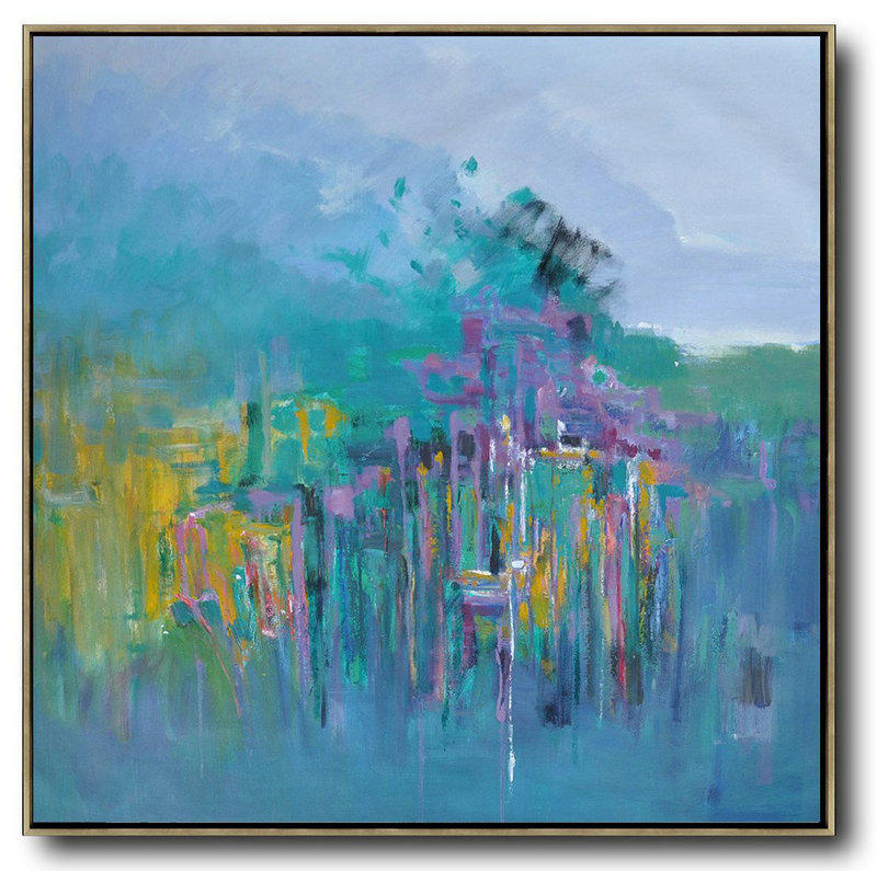 Abstract Landscape Oil Painting,Extra Large Canvas Painting,Purple Grey,Lake Blue,Purple,Yellow
