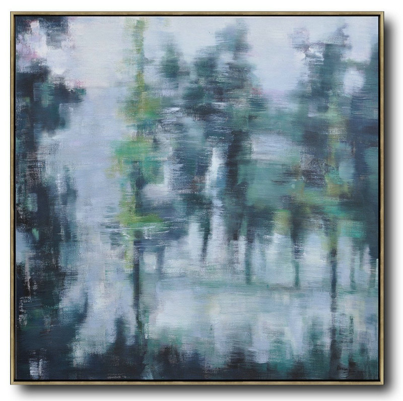 Abstract Landscape Oil Painting,Living Room Wall Art,White,Grey,Dark Green