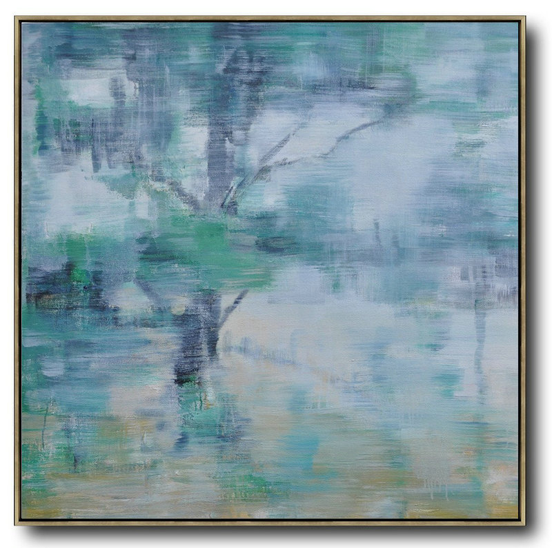 Abstract Landscape Oil Painting,Large Wall Canvas,White,Grey,Green,Yellow