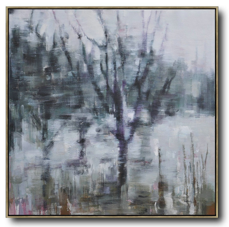 Abstract Landscape Oil Painting,Acrylic Painting Canvas Art,White,Dark Green,Grey,Purple