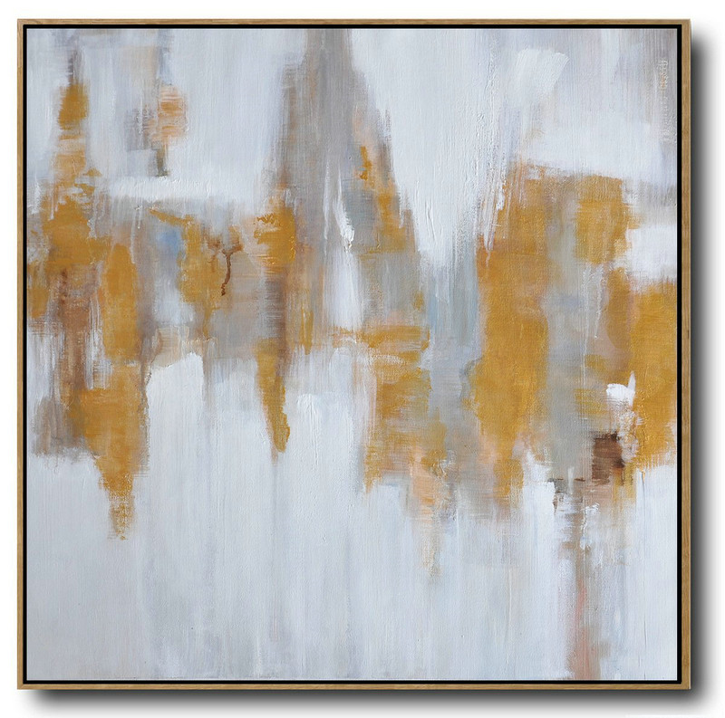 Large Abstract Landscape Oil Painting,Acrylic Painting On Canvas,White,Grey,Yellow
